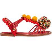 Dolce Gabbana, Embellished leather, raffia & brocade sandals, £875