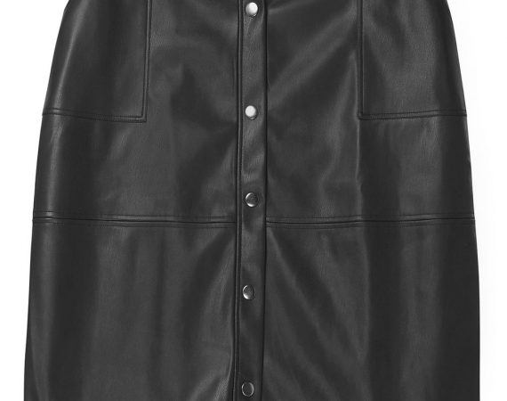plus size black skirt faux leather