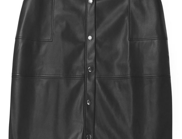 plus size black skirt faux leather