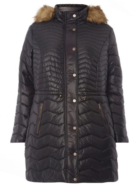 Evans padded faux fur trim puffa coat for plus size