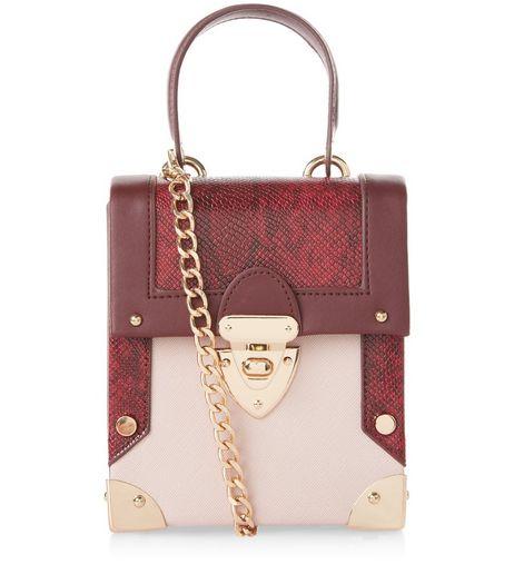 vintage-box bags - new look - burgundy-snakeskin-panel-mini-box-bag