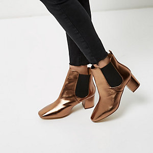 River Island Wide Fit Ankle boots bronze x25bGIiM