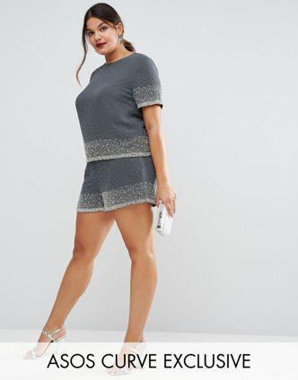 plus size embellished shorts
