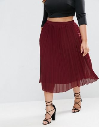 asos curve plus size pleated skirt
