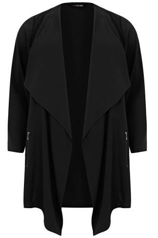 black_crepe_longline_waterfall_jacket_yours clothing plus size