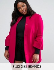 plus size coat pink and ruffles asos curve