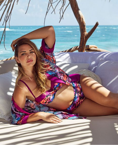 ee16ffc06060c ... floral prints and the bardot ruffle bikini top is bound to turn heads  around the pool. This is their most fun and fashion forward plus size  swimwear ...